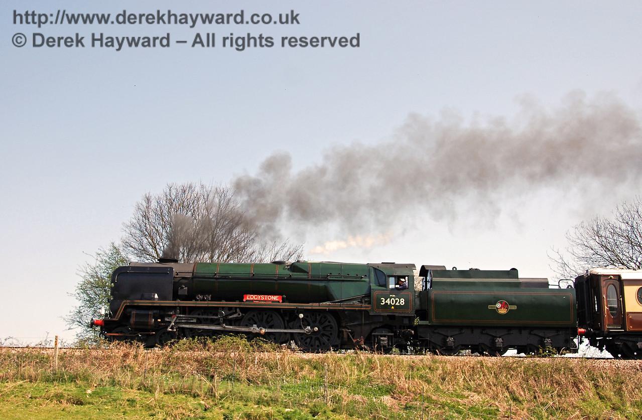 34028 Eddystone steams away from Sheffield Park. 15.04.2007
