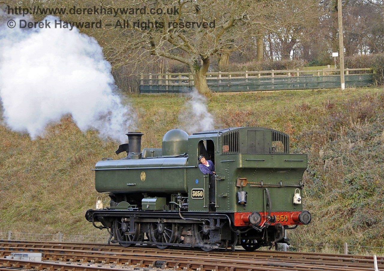 3650 runs round at Horsted Keynes during the Santa Special season.  08.12.2012  5963