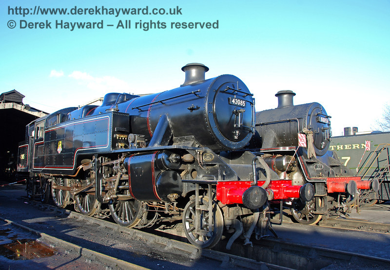 Fairburn Tank 42085 has arrived, and poses at Sheffield Park Shed next to 80151 30.01.2010.