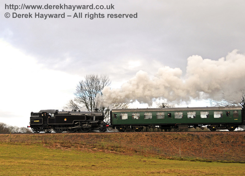 42085 hauls a northbound train away from Sheffield Park. 21.02.2010