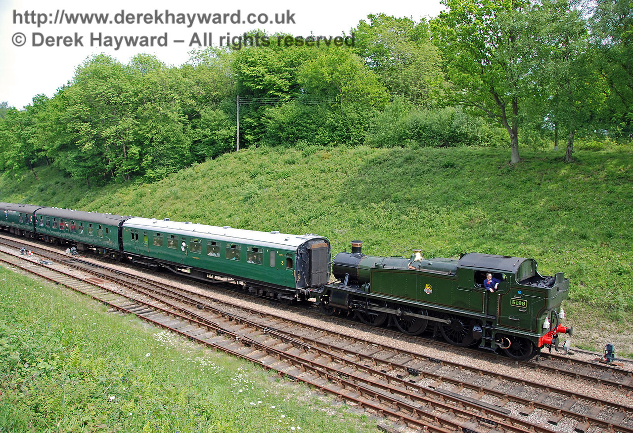 5199 hauls a service train south into Horsted Keynes.  10.05.2008