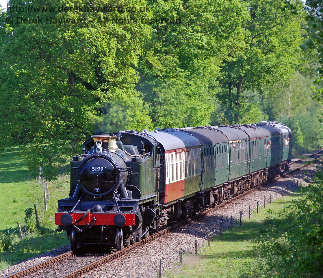 5199 steams north towards Kingscote with a service train. 11.05.2008