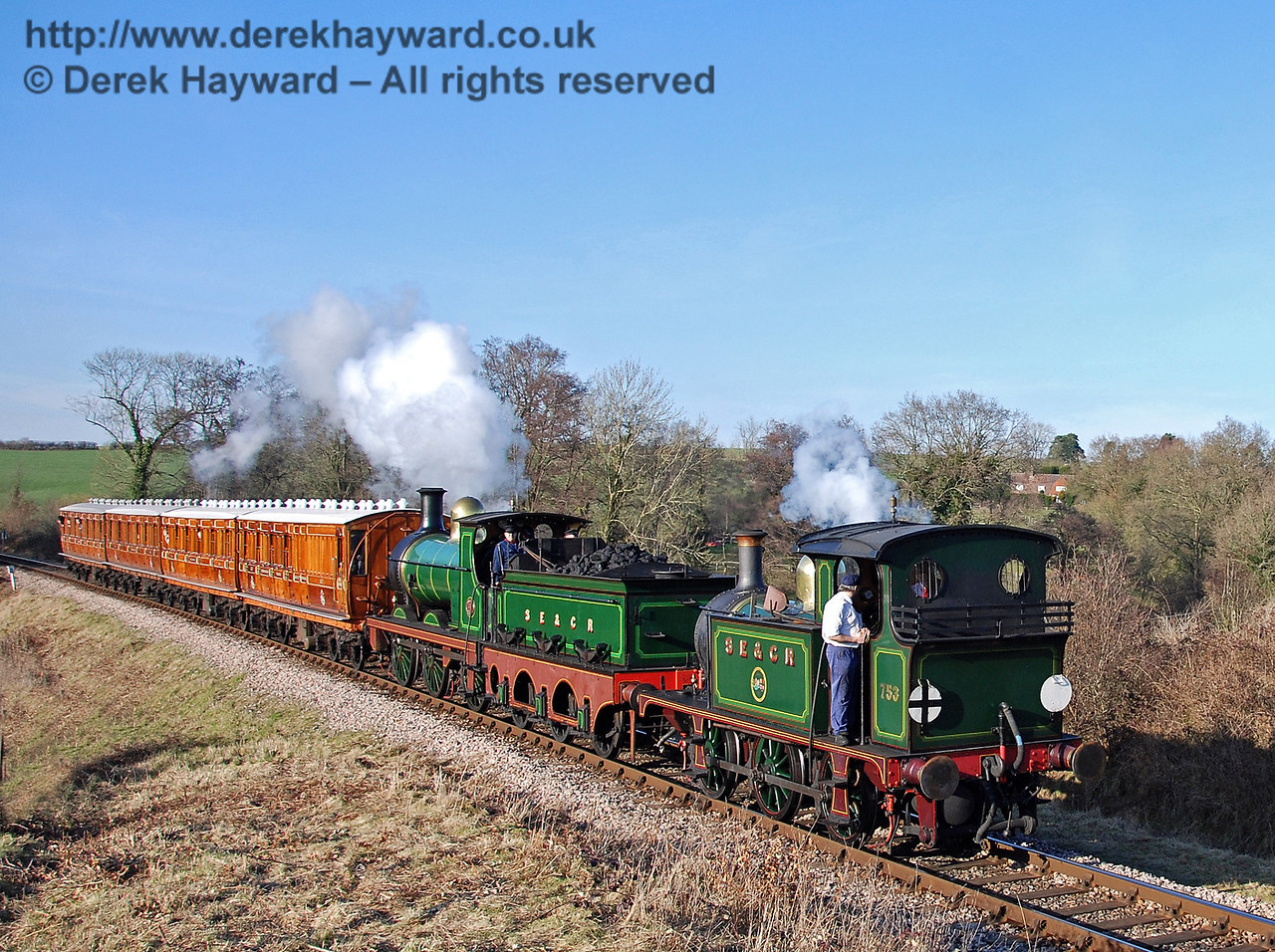753 and 65 steam south over Tremains foot crossing with the Metropolitan coaches. 21.02.2009