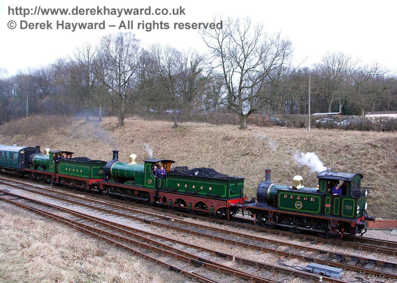 The SE&CR triple-header of 753, 592 and 65 returns to Horsted Keynes. 22.02.2009