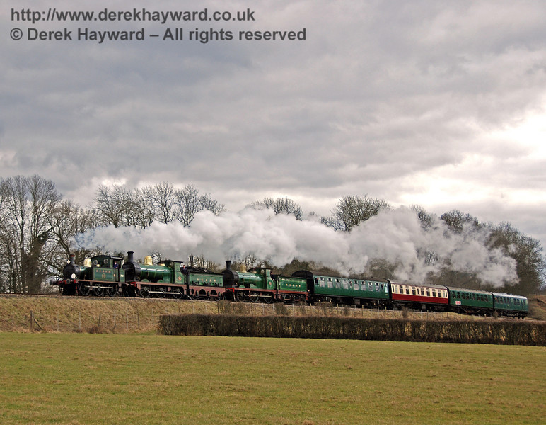 An SE&CR triple-header. 753, 65 and 592 tackle the climb from Three Arch Bridge into Horsted Keynes. 22.02.2009