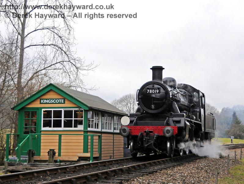 78019 poses alongside Kingscote southern signal box. 13.02.2010