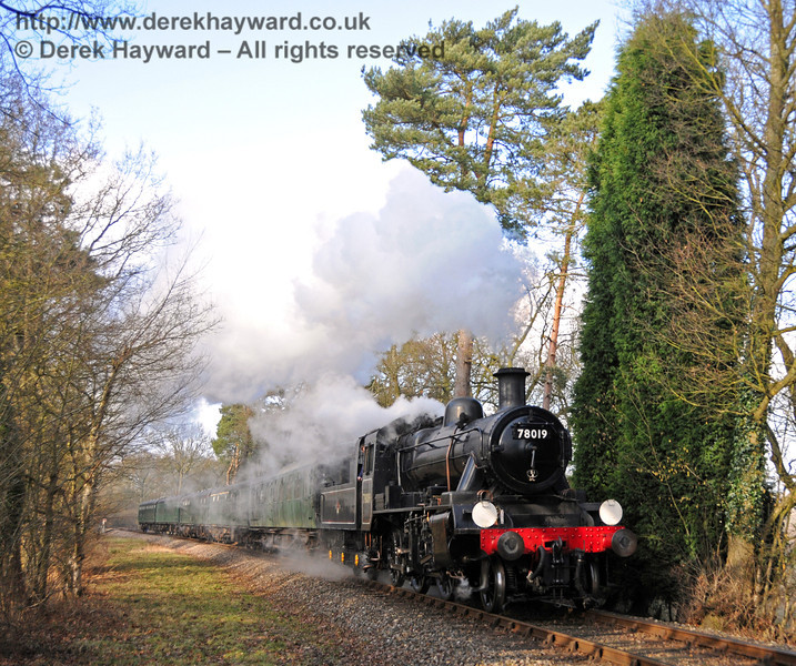 78019 steams south from Birch Farm foot crossing.  06.02.2010