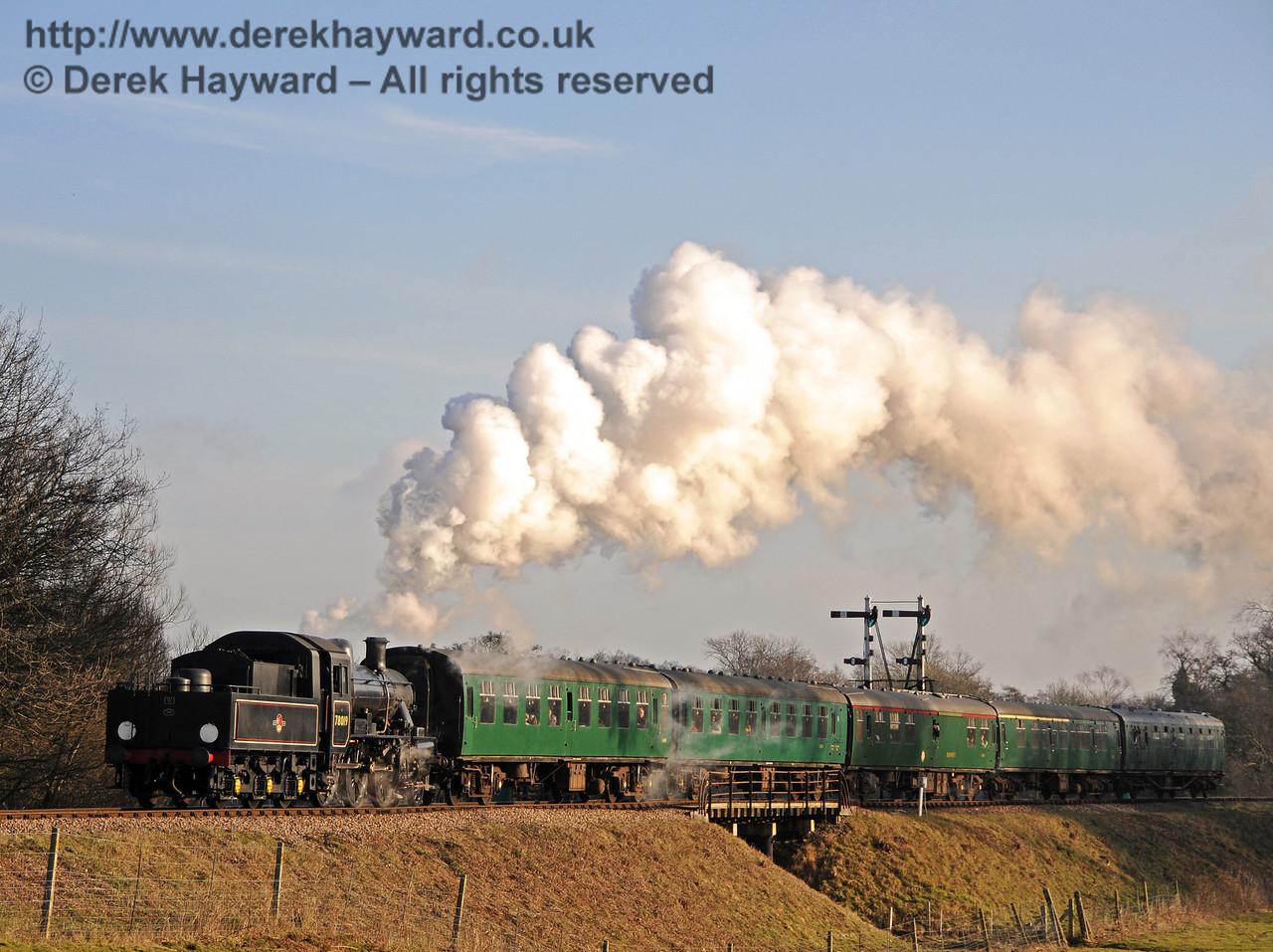 78019 steams north over Poleay Bridge. 06.02.2010