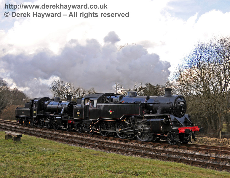 80151 and 78019 run round at Kingscote. 20.02.2010