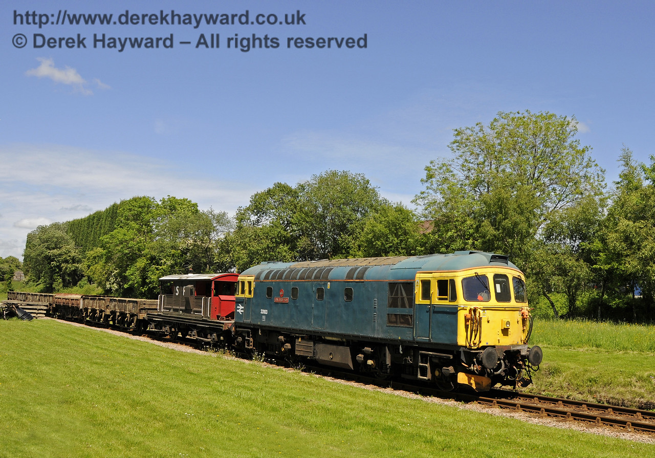 33103 Swordfish with an Infrastructure train at West Hoathly. 14.06.2013  8958