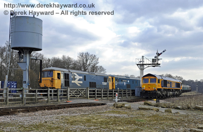 "66739 ""Bluebell Railway"" south of Horsted Keynes, with two Class 73 locomotives in the Down Yard.  28.03.2013  6469"