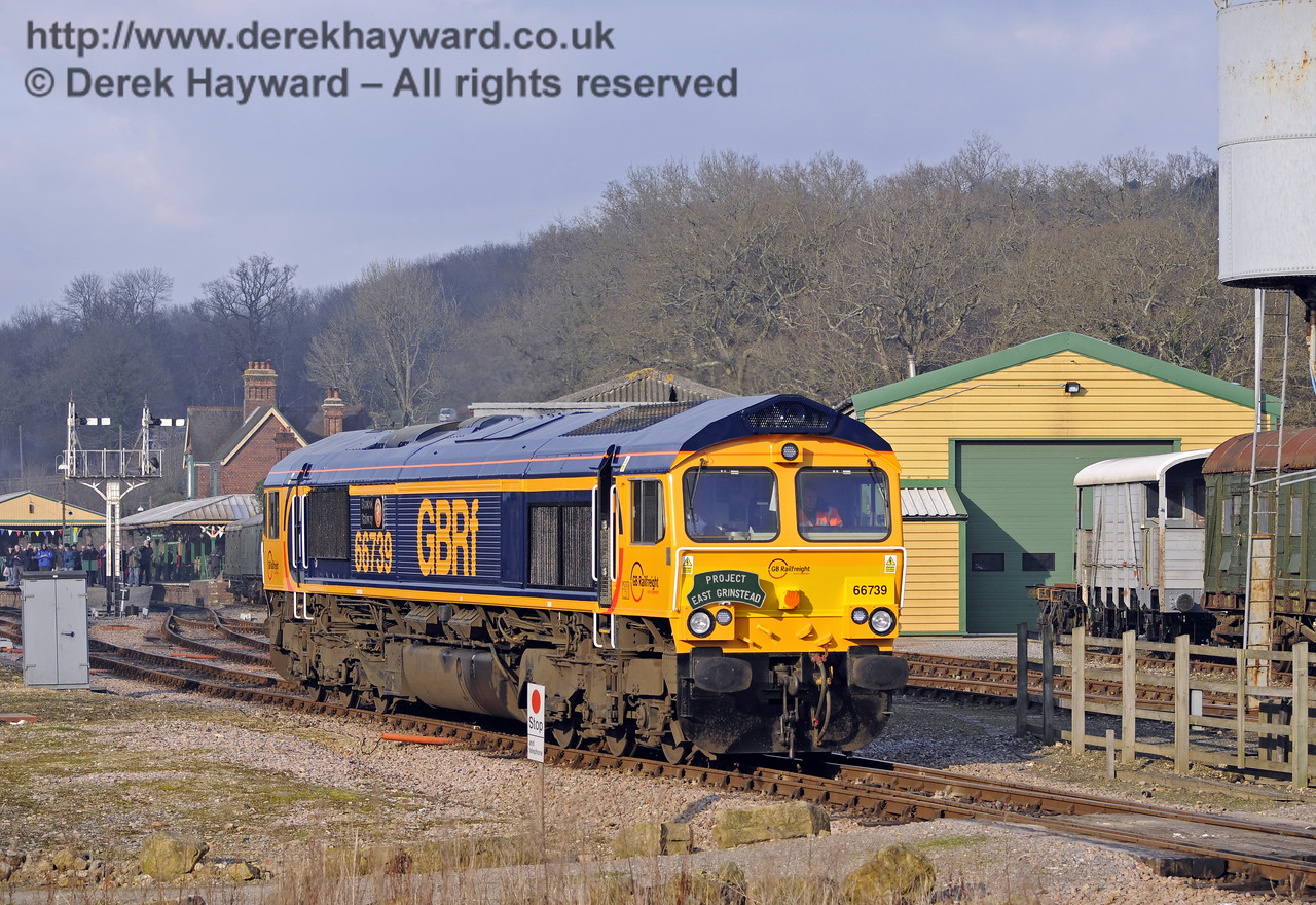"66739 ""Bluebell Railway"" adjacent to the Carriage and Wagon Works, Horsted Keynes.   28.03.2013  6464"