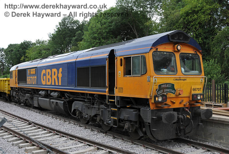 66707 in charge of a waste train at East Grinstead.  07.07.2010  3084
