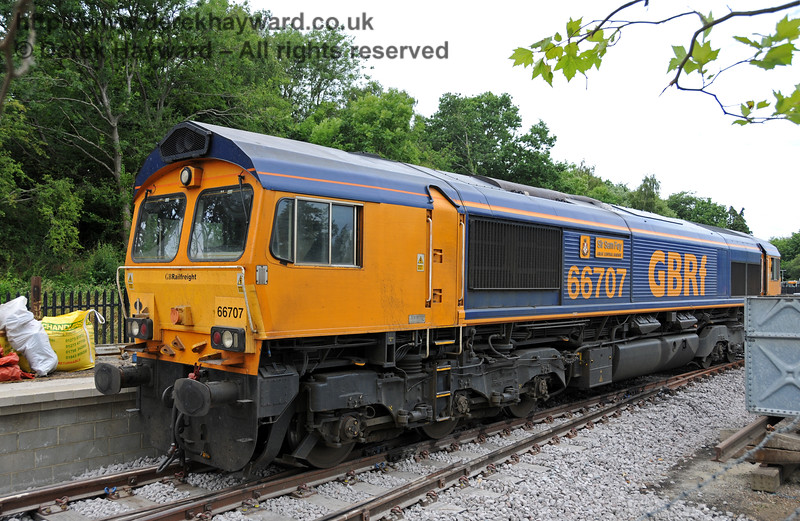 66707 in charge of a waste train at East Grinstead.  07.07.2010  3087