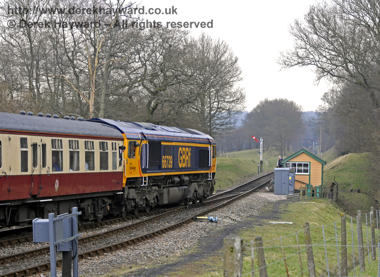 "66739 ""Bluebell Railway"" moves towards Kingscote south signal box.  28.03.2013  8563"