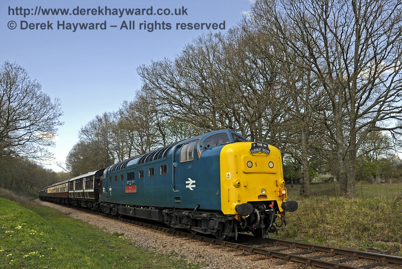 55019 Royal Highland Fusilier runs south at Vaux End.  18.04.2015  12252