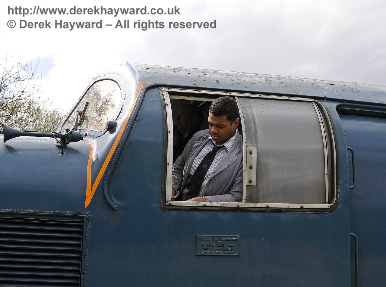 Ruben in the cab of 55019 Royal Highland Fusilier.  19.04.2015  12320