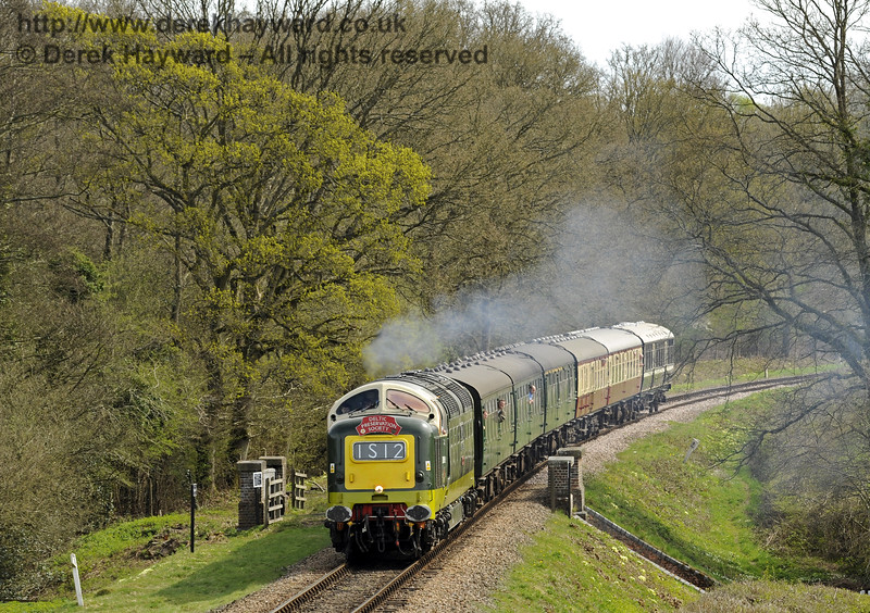 D9009 Alycidon crosses Waterworks Bridge.  17.04.2015  10740