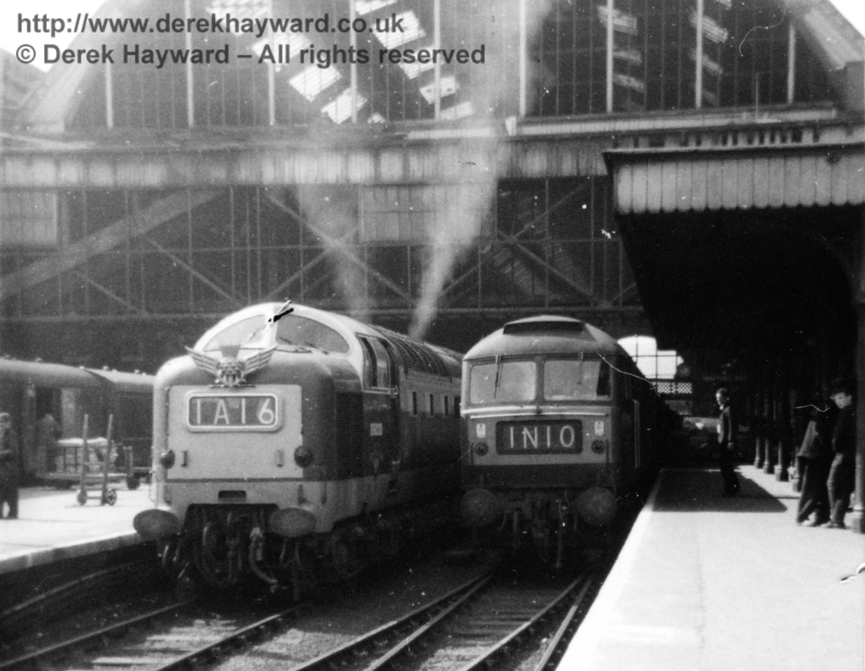 By way of a memory, an old grainy image, taken at Kings Cross in about 1970, when the Deltics were in main line service and the Flying Scotsman was just leaving.  Unfortunately the locomotives are unidentified.