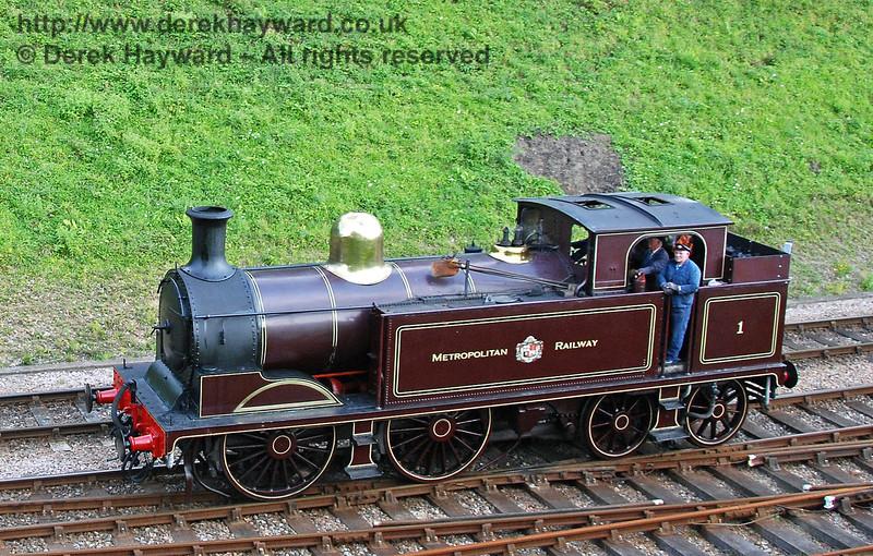 Metropolitan Railway No.1 runs round at Horsted Keynes. 28.07.2007