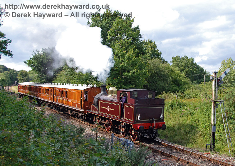 Metropolitan Railway No.1 hauls the Metropolitan coaches south from Kingscote. 28.07.2007