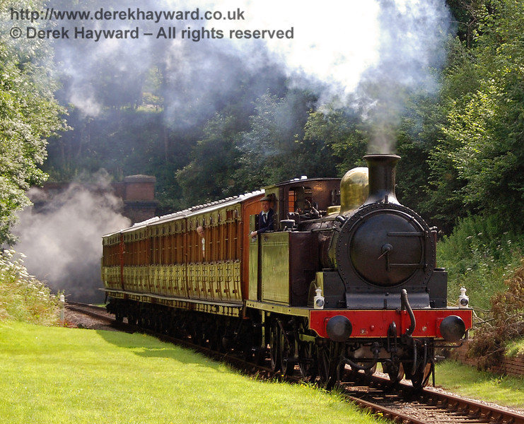 Metropolitan Railway No.1 and the Metropolitan coaches enter the site of West Hoathly station. 28.07.2007