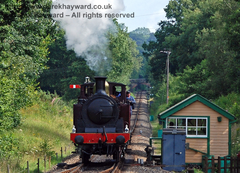 Metropolitan Railway No.1 steams away from Kingscote signal box. 28.07.2007