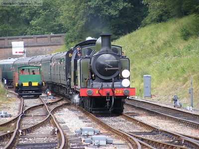 B473 and 1638 arrive. On the left is the Howard Petrol locomotive no. 957