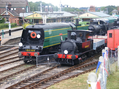 Little and large. The two out of ticket engines in the custody of the Bulleid Society sit at the north end of the up yard at Horsted.