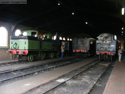 A line of engines in the shed