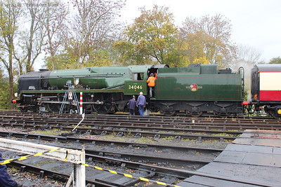 A rare moment of semi-brightness as the crew board the Bulleid