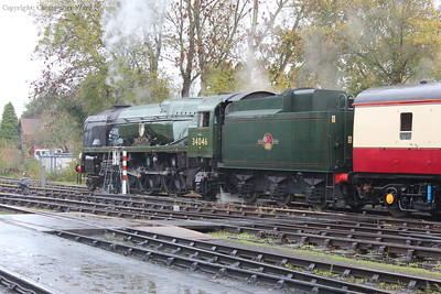 The Bulleid prepares to act as the tail-gunner back to Oxted