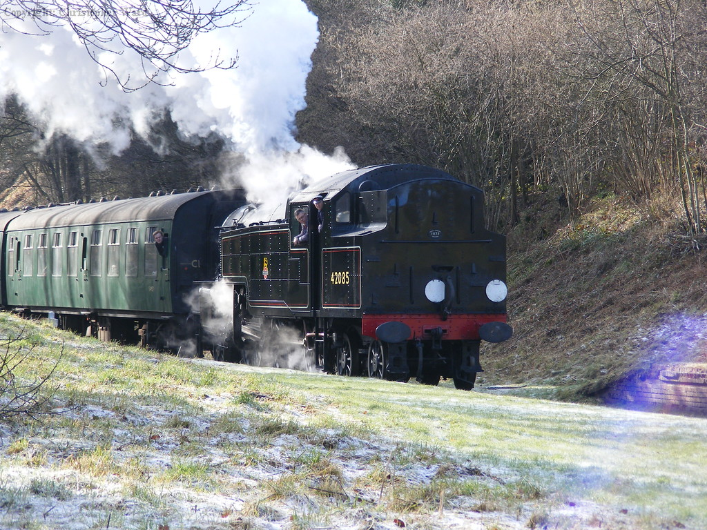 Ex-LMS Fairburn tank 42085 heads north with the frost slowly vanishing