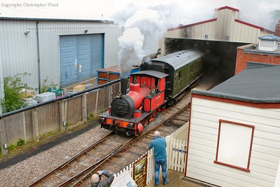 No mean feat as the diminutive Manning Wardle shunter brings three Maunsell and three pre-grouping bogies out of the shed