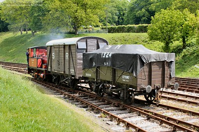 The SR box van and 7 plank wagons with Captain Baxter