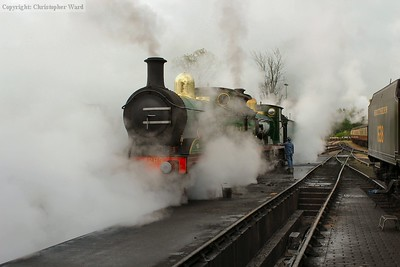 The C class is blown down, shrouding the pair in steam