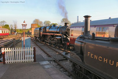 Camelot catches the last rays while shunting her train into the shed