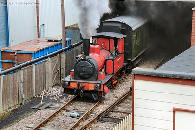 Captain Baxter emerges from the gloom of the carriage shed with some of the day's stock