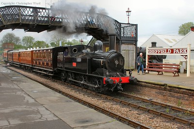 The Coal Tank brings the wooden-bodied 4 wheelers, 1520 and the Obo into the platform prior to forming the first East Grinstead train of the day