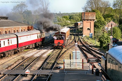 Captain Baxter brings the 4 wheelers into the platform to form the last public train of the day to East Grinstead