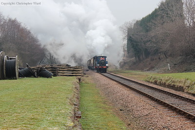 The dining train heads south. Note the long-time landmark of the ballast mountain has disappeared!