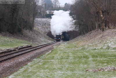 Bluebell makes an impressive exit from the tunnel in the icy conditions