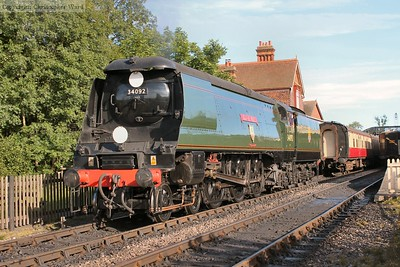 "34092 backs onto the evening ""Fish and Chip Special"""
