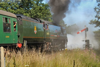 34092 makes an atmospheric departure from Sheffield Park
