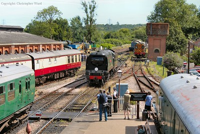 34092 draws through the station