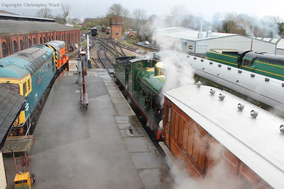 The C class steam-heats the Victorian set prior to working the second train of the day out of Sheffield Park