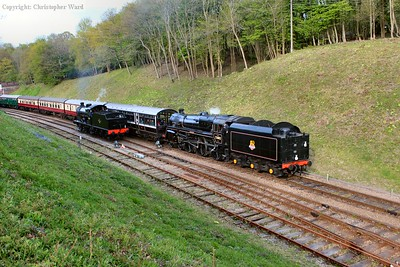 73082 and 30541 prepare to team up for an early evening train back to Sheffield Park
