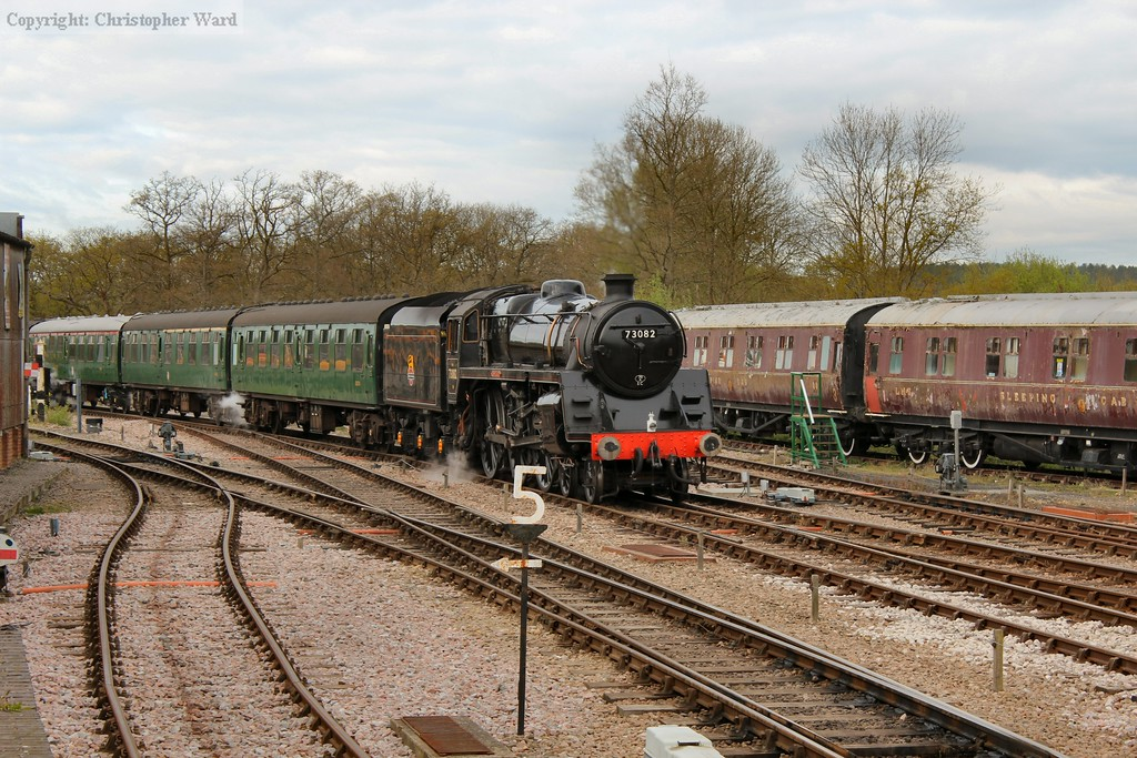 Camelot arrives with the first train of the day from Sheffield Park