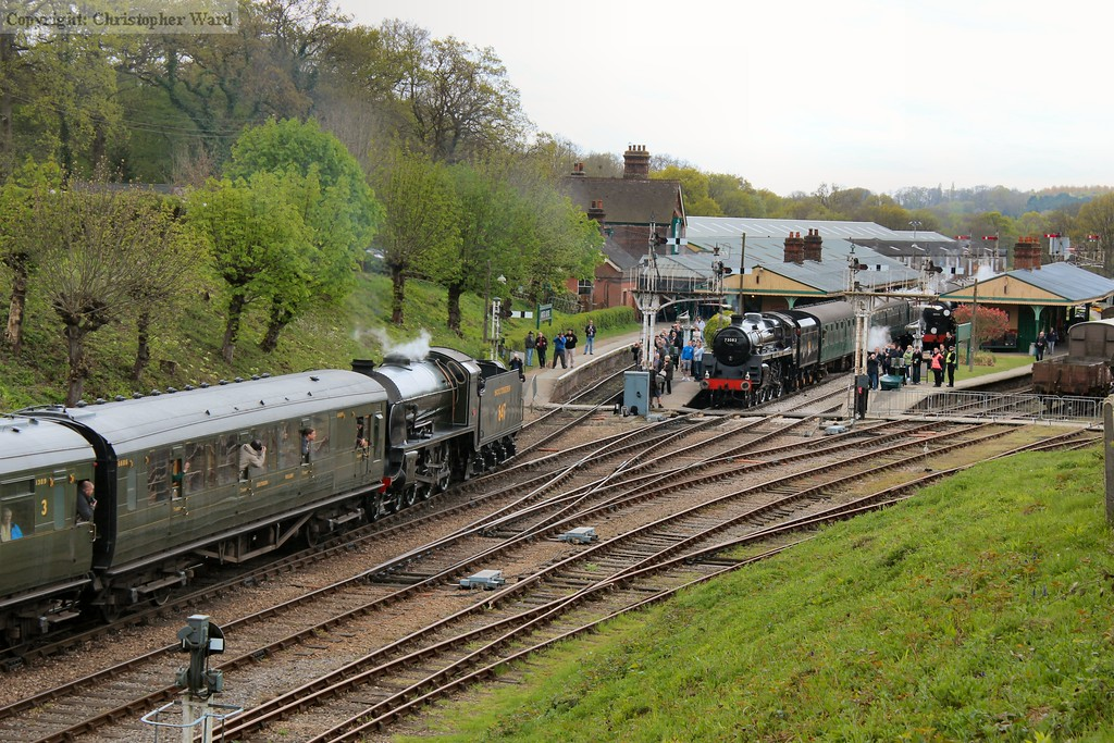 A busy scene at Horsted Keynes as 847 and 73082 cross on service trains and 30541 waits to run another brake van trip