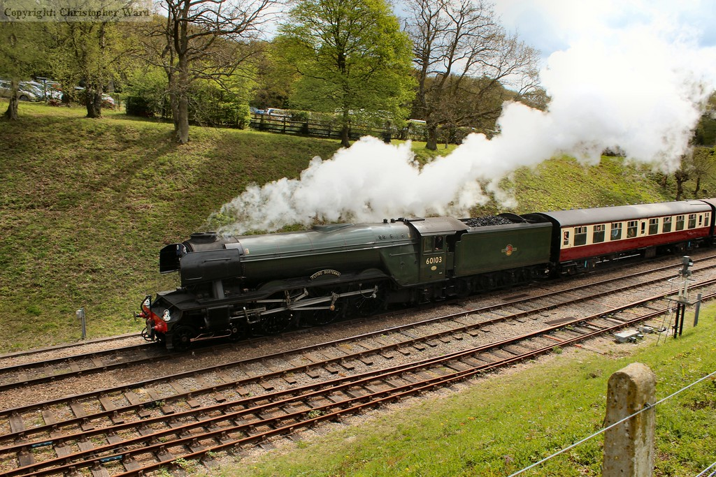 Flying Scotsman accelerates away from the station confines